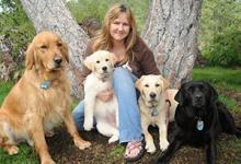 Jennifer Kachnic and her four dogs