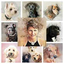 Collage featuring Bev Evans and several painted dogs